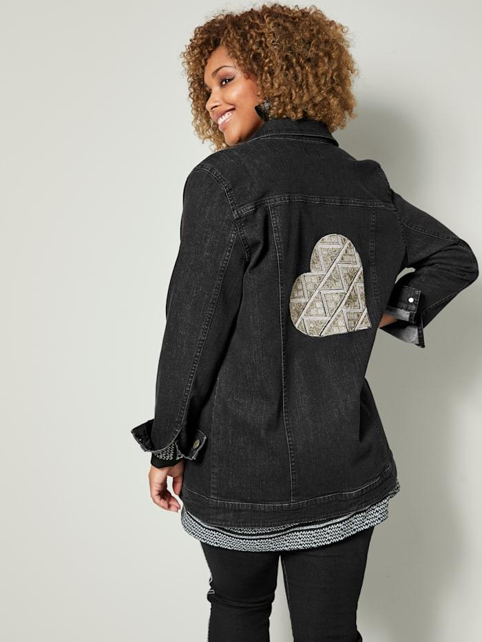 Angel of Style Jeansjakke med applikasjon på bakstykket, Black stone