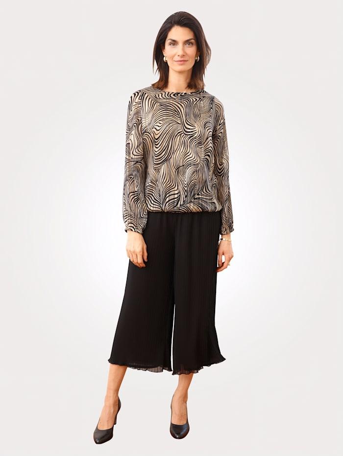 MONA Culotte met plisséplooitjes, Zwart