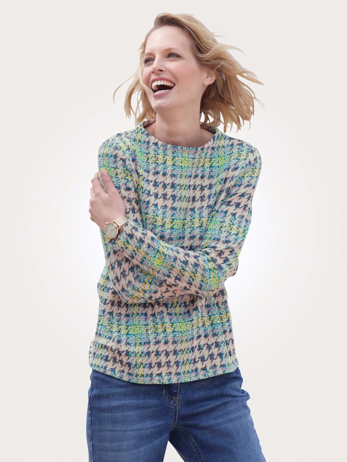 MONA Sweatshirt in elastischer Jacquard-Qualität, Ecru/Türkis/Multicolor
