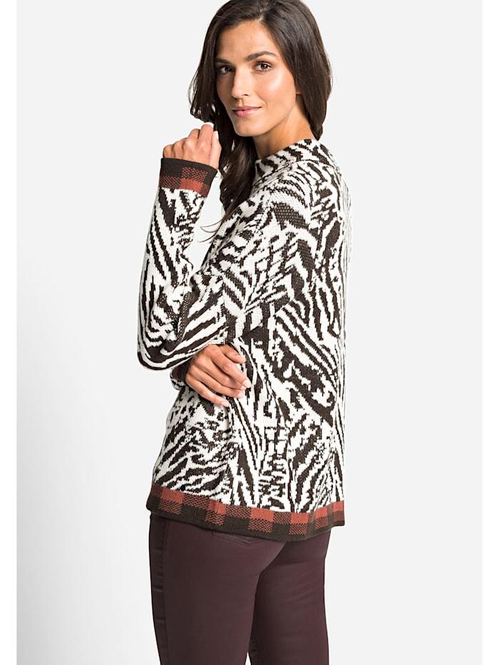 Stehkragenpullover im Zebra-Look