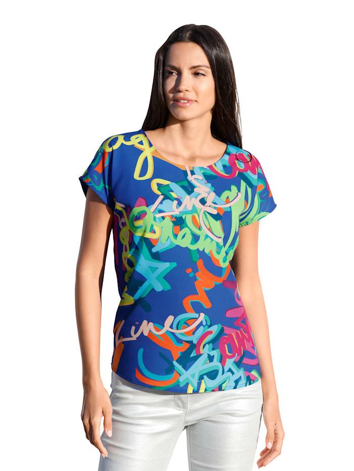 AMY VERMONT Shirt mit grafischem Muster im Vorderteil, Royalblau/Orange/Pink