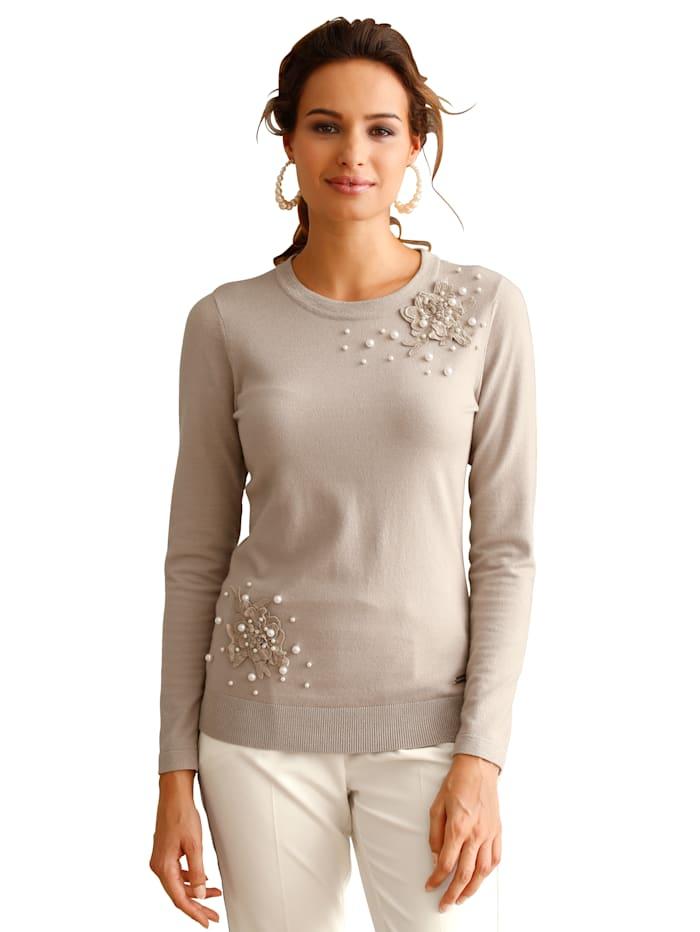 AMY VERMONT Pullover mit Blüten- und Perlendeko, Taupe