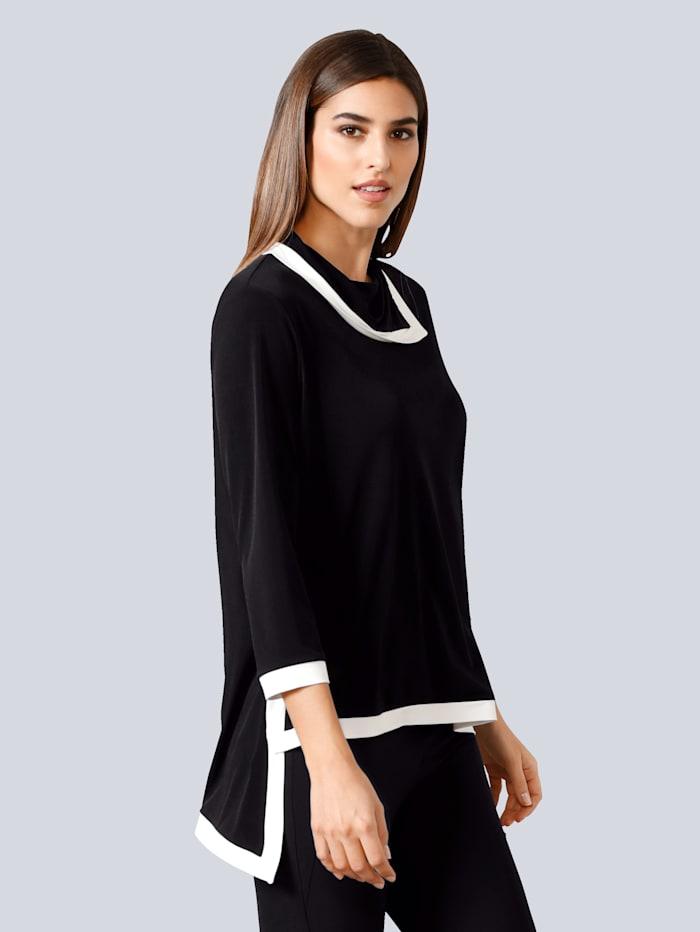 Alba Moda Shirt mit kontrastfarbigen Blenden, Schwarz/Weiß