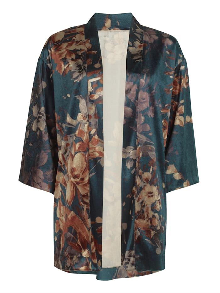 Kimono aus Samt mit Blumen Dessin