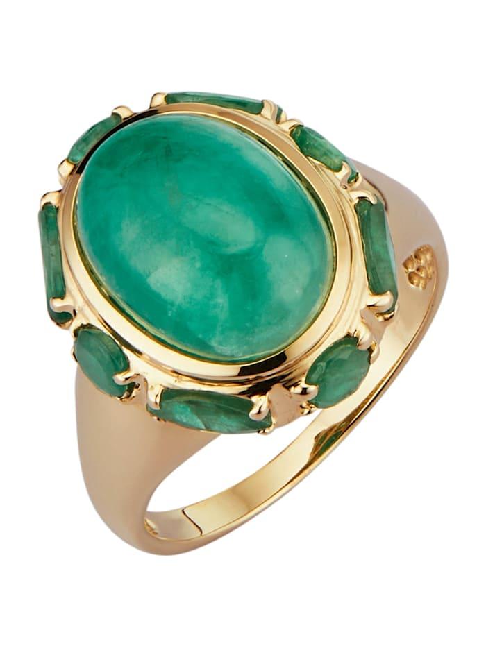 Diemer Farbstein Damesring met smaragden, Groen
