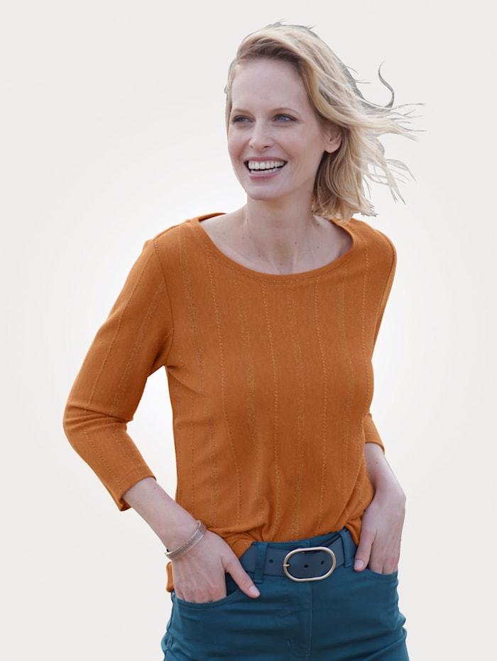 MONA Shirt van fijngebreid materiaal, Lichtoranje/Goudkleur