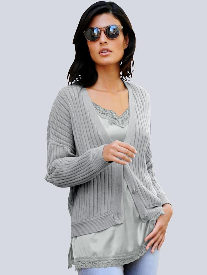 Alba Moda Top mit dekorativer Spitze, Grau