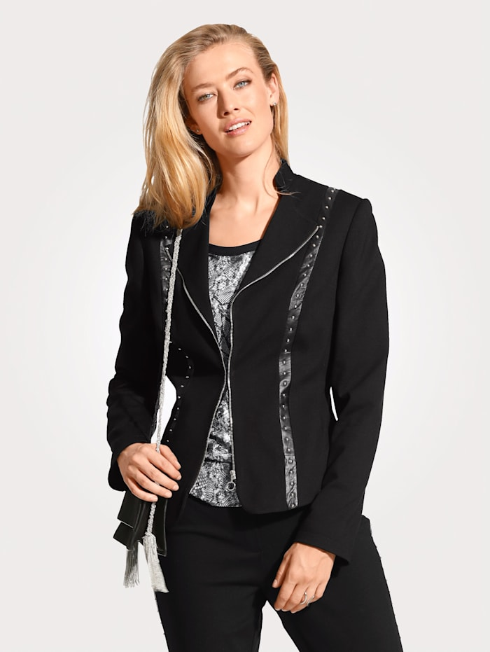 Jersey blazer with studded band