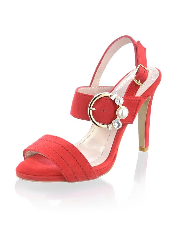 Alba Moda Sandalette mit Schmuckschnalle, Rot