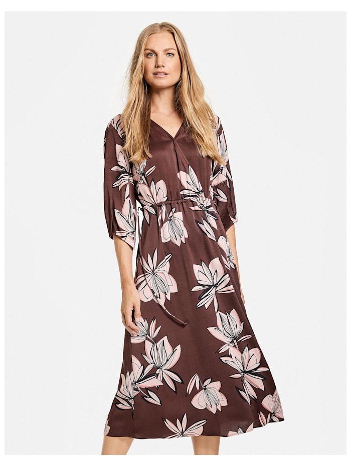 Gerry Weber Kleid mit großen Blumen, chestnut/rose/druck