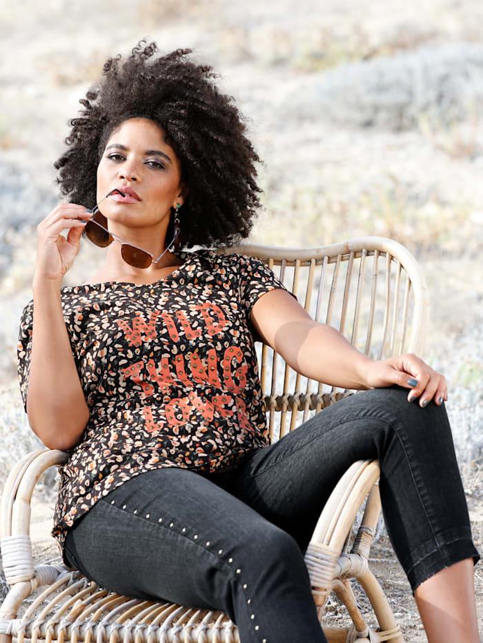 Angel of Style Longshirt met klinknageltjes voor, Zwart/Olijf/Terracotta