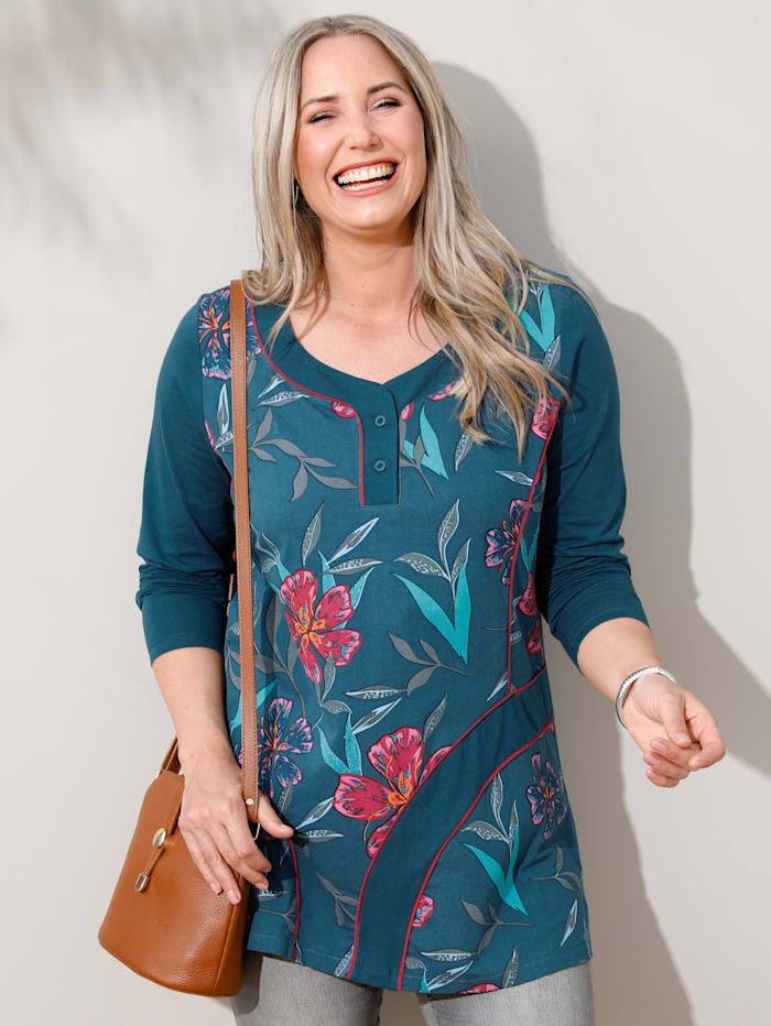 MIAMODA Sweatshirt mit femininem Ausschnitt, Petrol