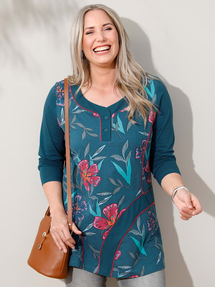 MIAMODA Sweatshirt met vrouwelijke halslijn, Petrol