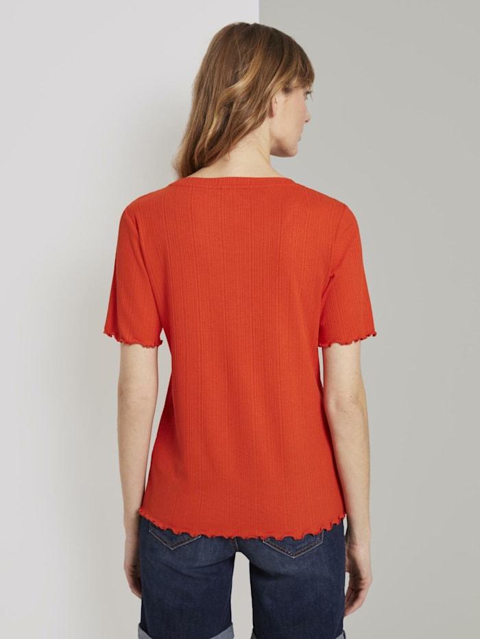 Geripptes T-Shirt mit Wellsaumkanten
