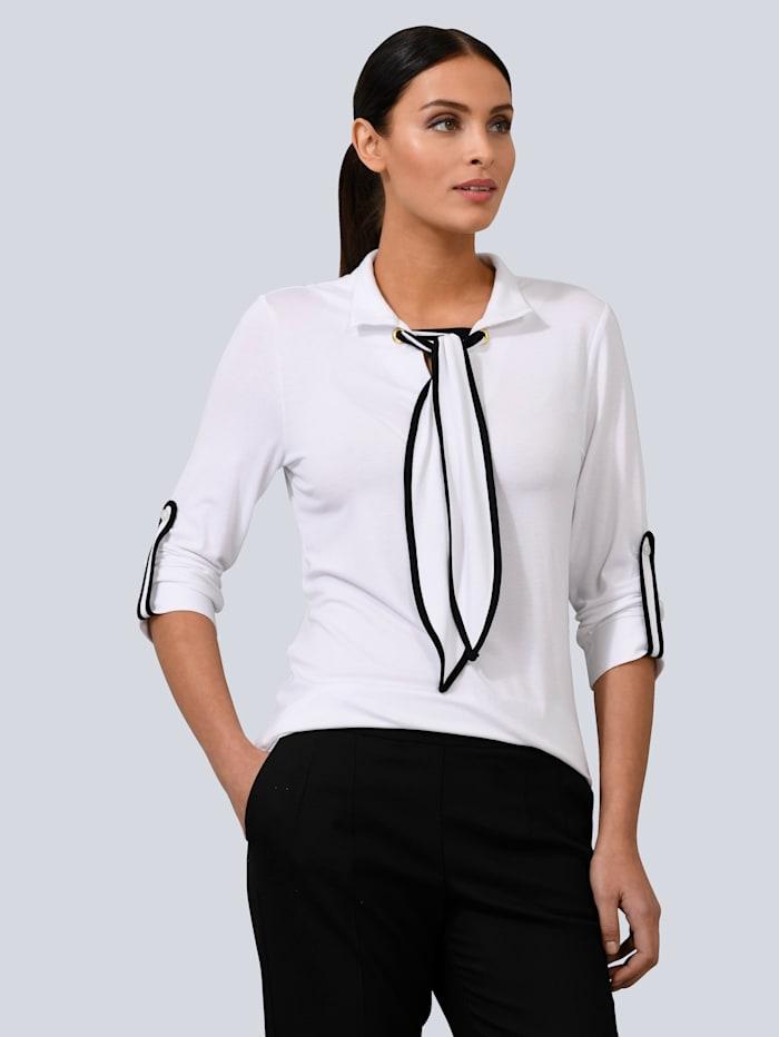 Alba Moda Shirt mit Schluppe, Weiß/Anthrazit