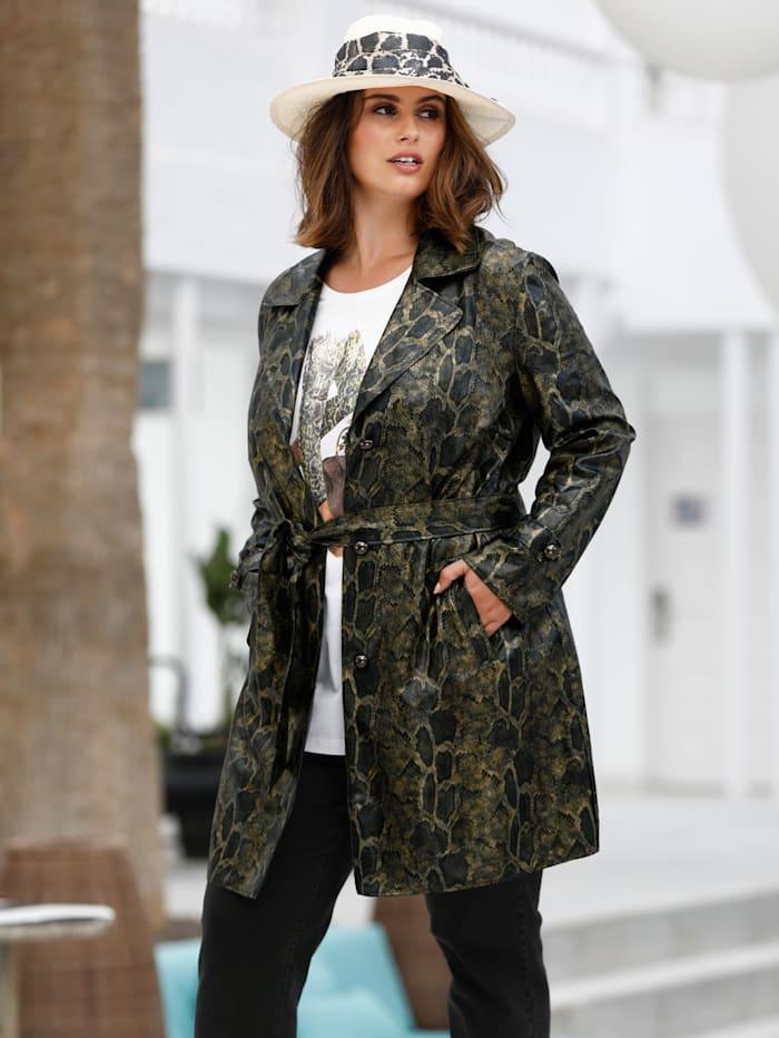 Sara Lindholm Manteau court avec ceinture, Vert/Noir