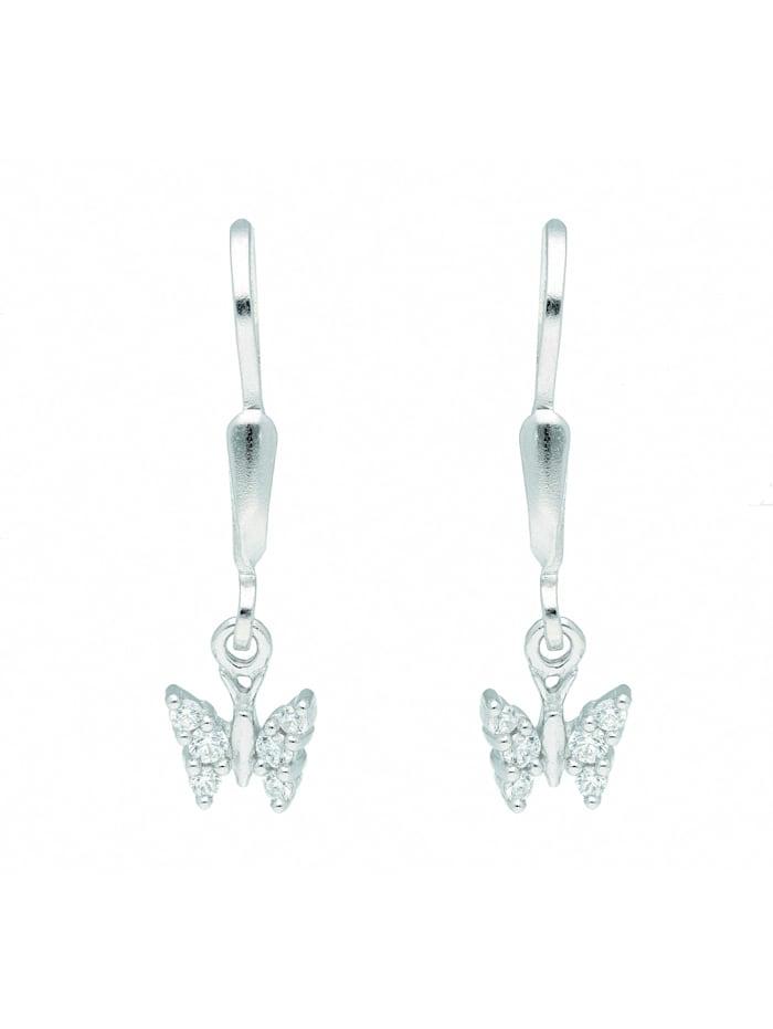 1001 Diamonds Damen Silberschmuck 925 Silber Ohrringe / Ohrhänger Schmetterling mit Zirkonia, silber