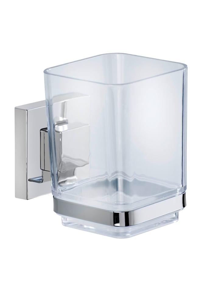 Vacuum-Loc® Zahnputzbecher Quadro 2er Set Edelstahl, Befestigen ohne bohren
