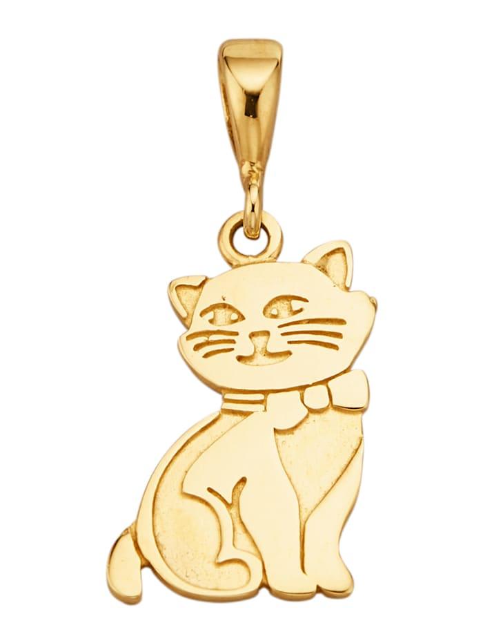 Diemer Highlights Katzen-Anhänger in Gelbgold 585, Gelbgoldfarben