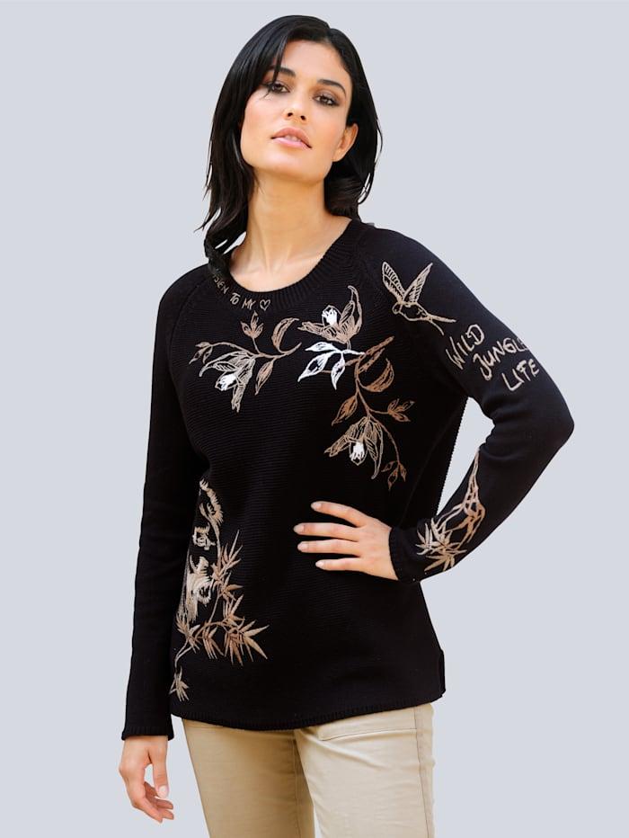 Alba Moda Pulóver s výraznou pletenou štruktúrou, Čierna/Béžová