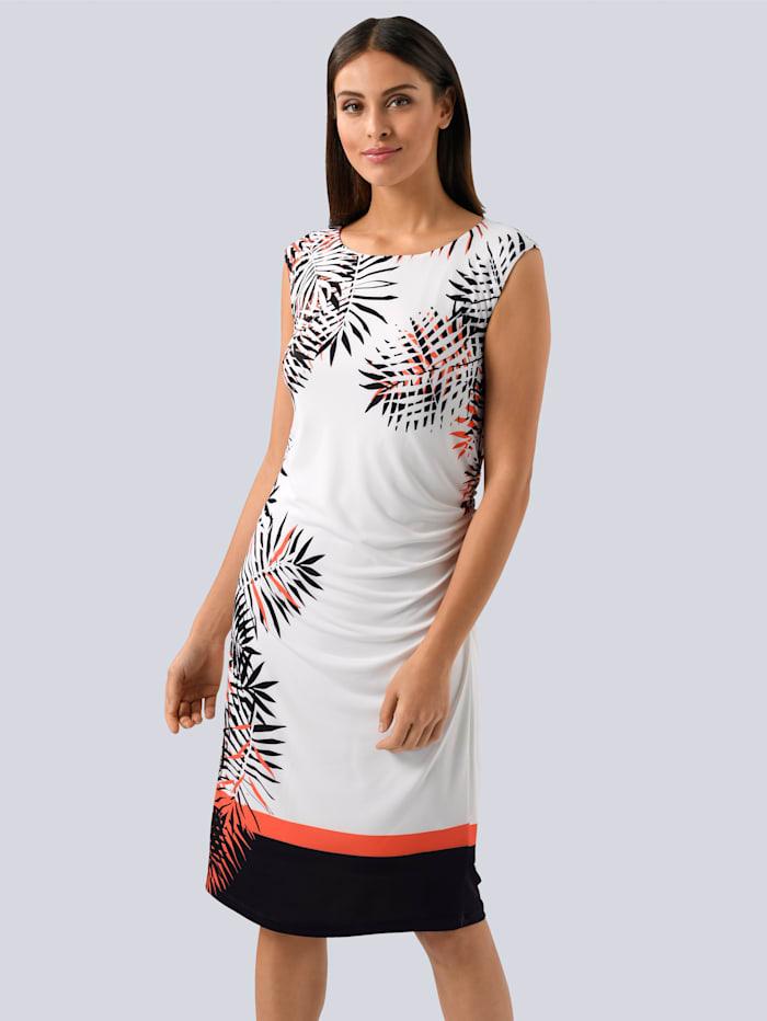 Alba Moda Kleid mit seitlichem Blätterdessin, Off-white/Schwarz/Orange