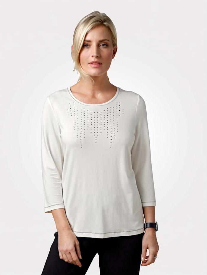 MONA T-shirt avec ornement de strass, Écru