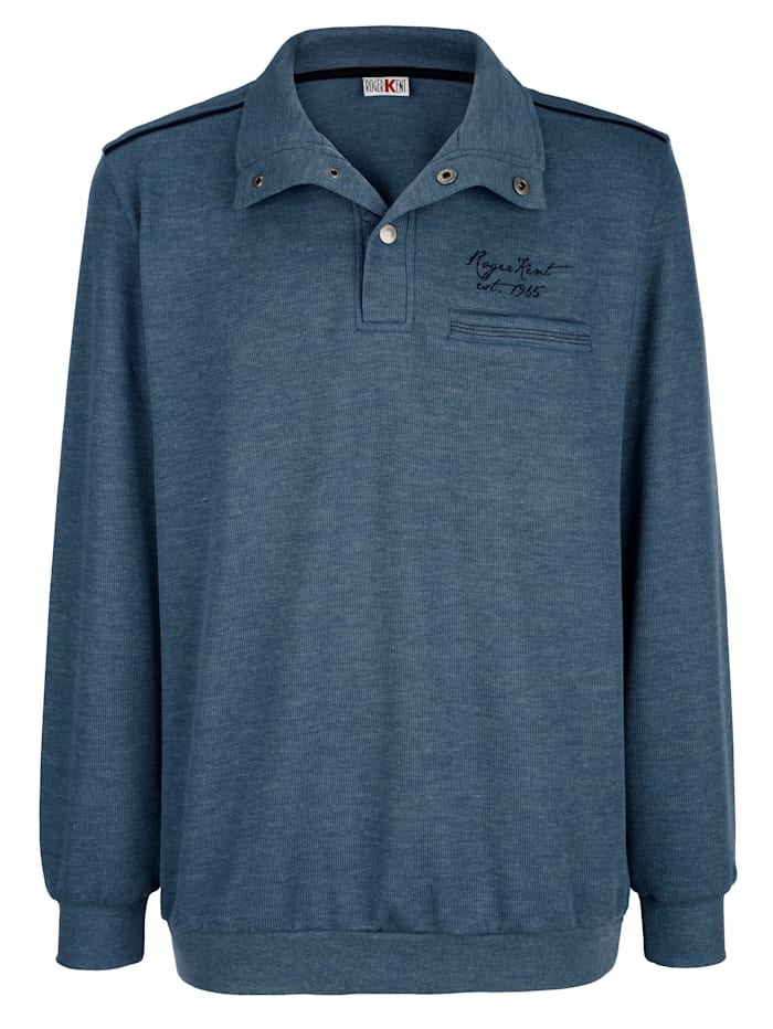 Roger Kent Sweat-shirt à passepoil contrastant, Bleu