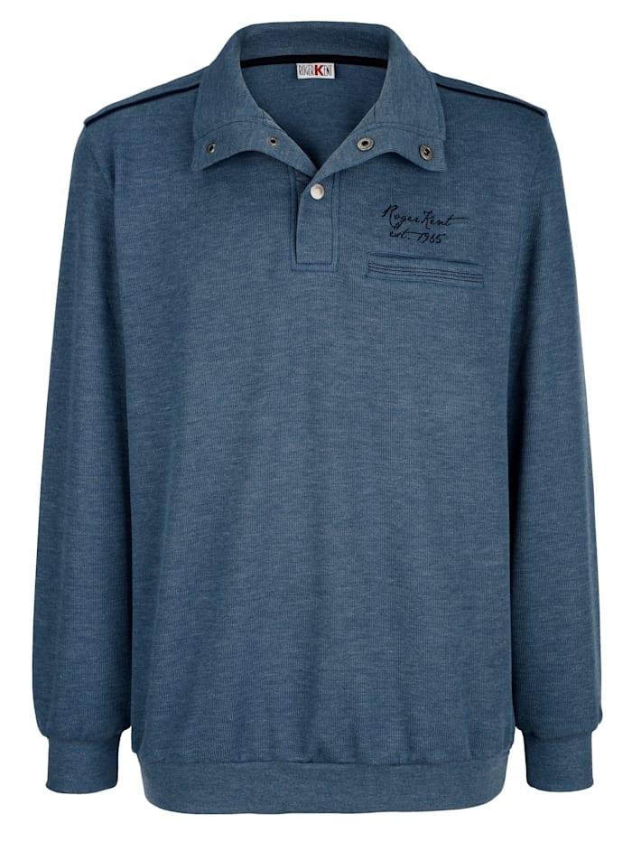 Roger Kent Sweatshirt met contrastkleurige paspels, Blauw