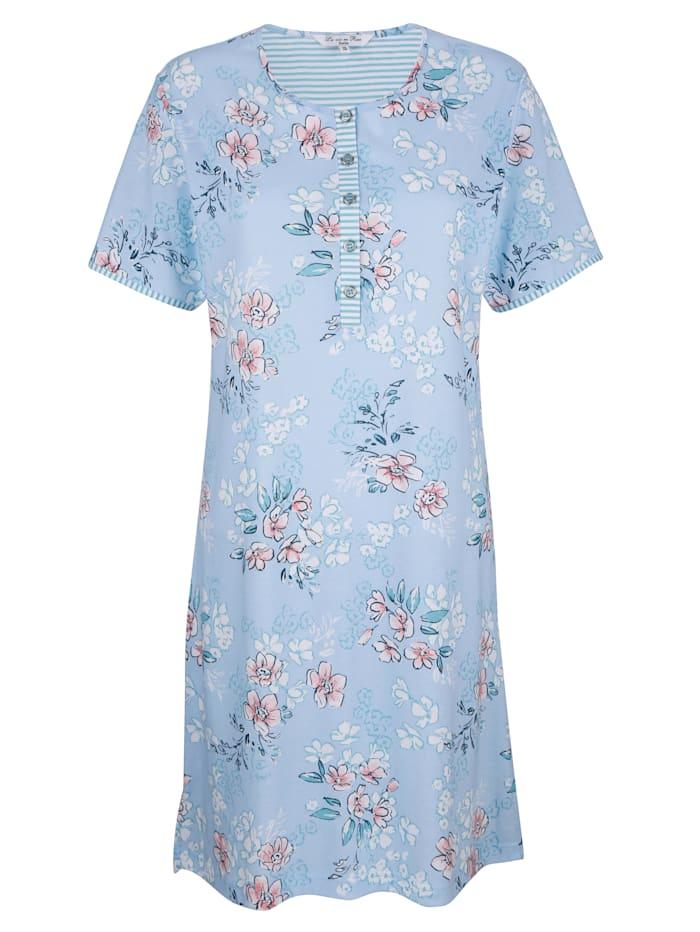 MONA Nachthemd mit geringelten Paspelierungen, Hellblau/Weiß/Rosé