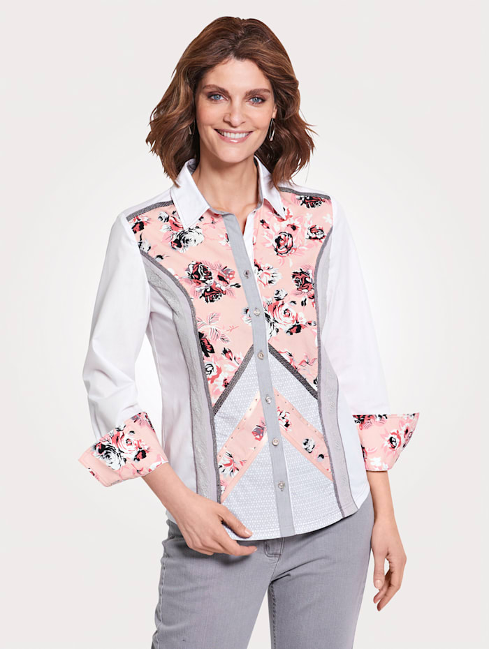 MONA Blouse in patchworklook, Wit/Grijs/Apricot