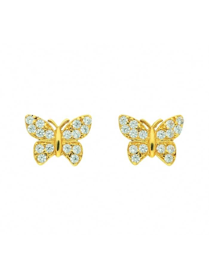 1001 Diamonds Damen Goldschmuck 333 Gold Ohrringe / Ohrstecker Schmetterling mit Zirkonia, gold