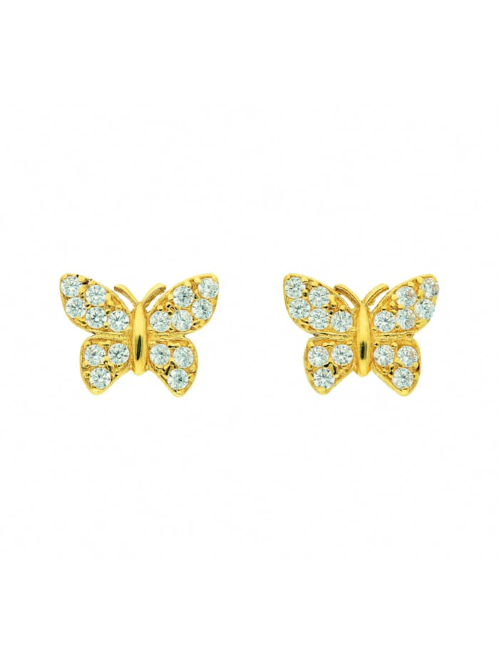 1001 Diamonds Damen Goldschmuck 333 Gold Ohrringe / Ohrstecker Schmetterling mit Zirkonia, gold