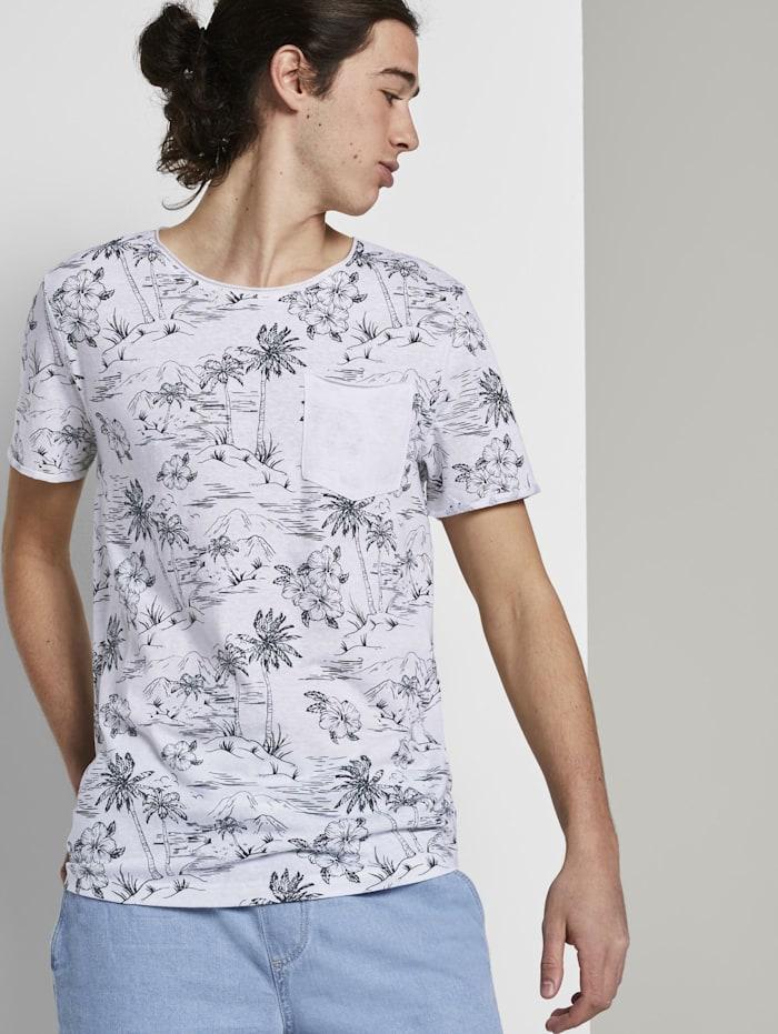 Tom Tailor Denim T-Shirt mit Allover-Print und Brusttasche, white navy hawaiian print