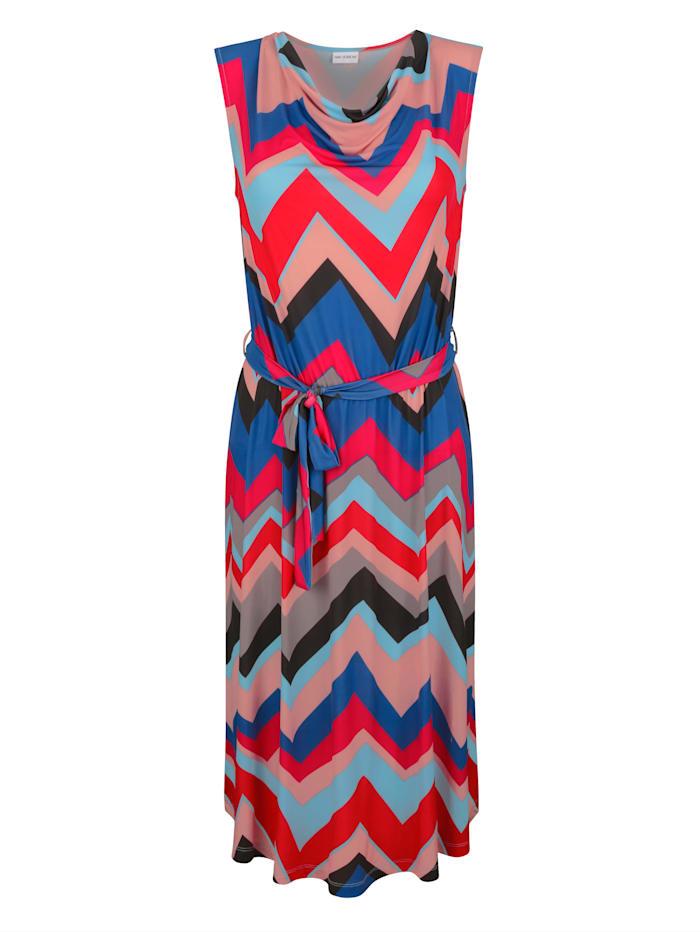 Jersey jurk met watervalhals