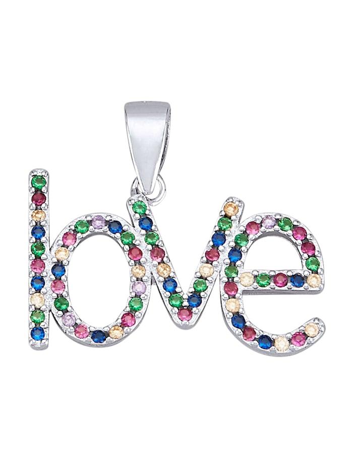 Love-Anhänger in Silber 925, Multicolor