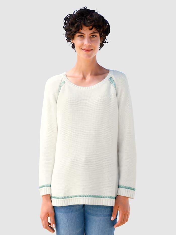 Dress In Pullover mit Kontrastfäden, Off-white