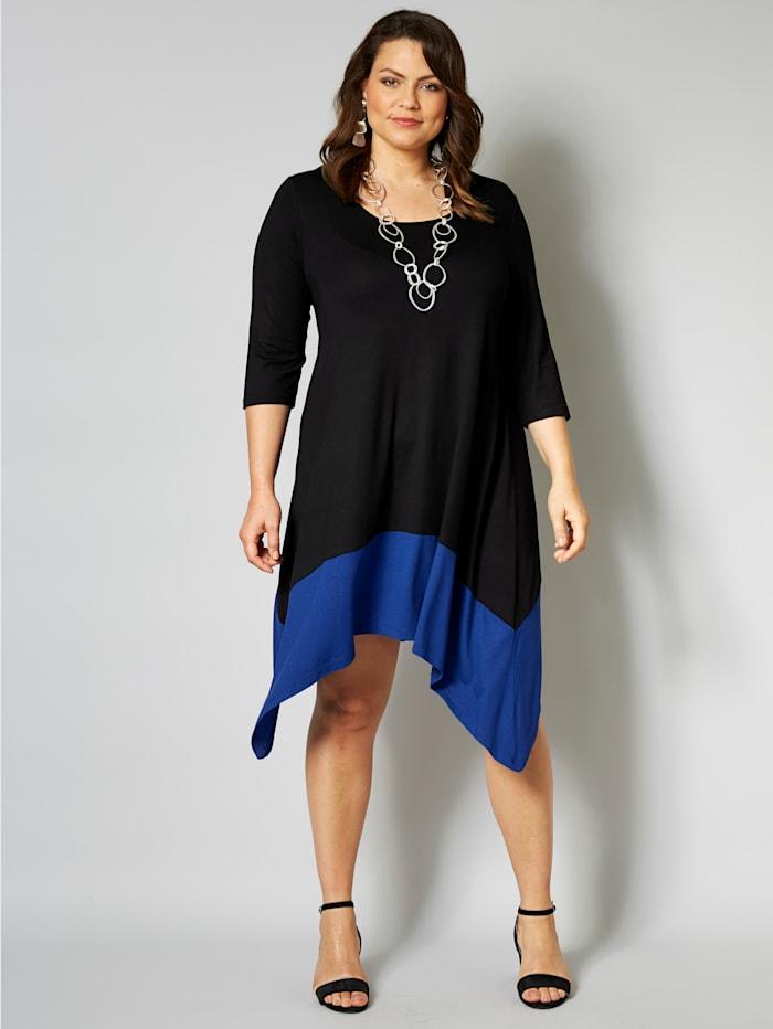 Sara Lindholm Jurk met puntige zoom, zwart/royal blue