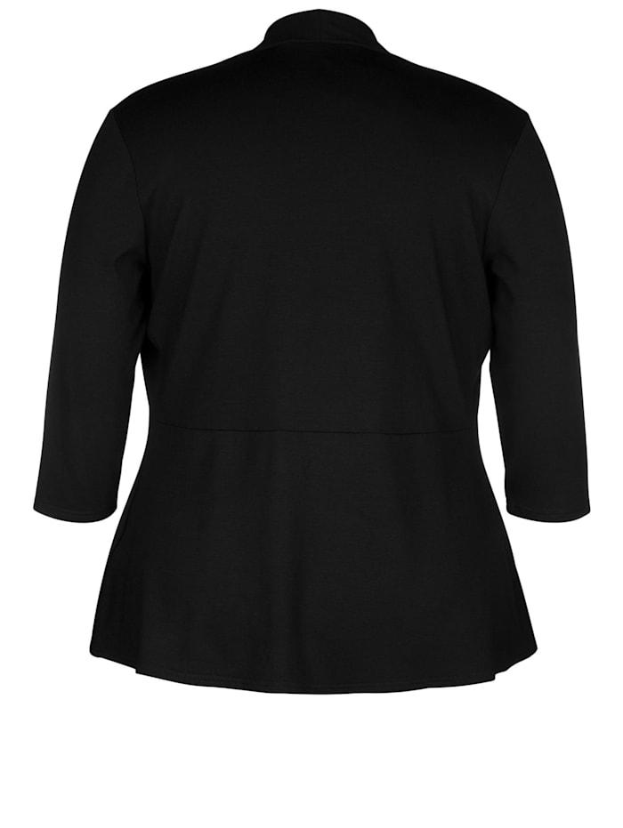 Doris Streich Cardigan mit Schalkragen verschlussloses Design, Schalkragen, kleines Schößchen, Schwarz