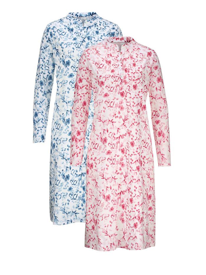Nachthemd mit dekorativen Biesen 2er Pack