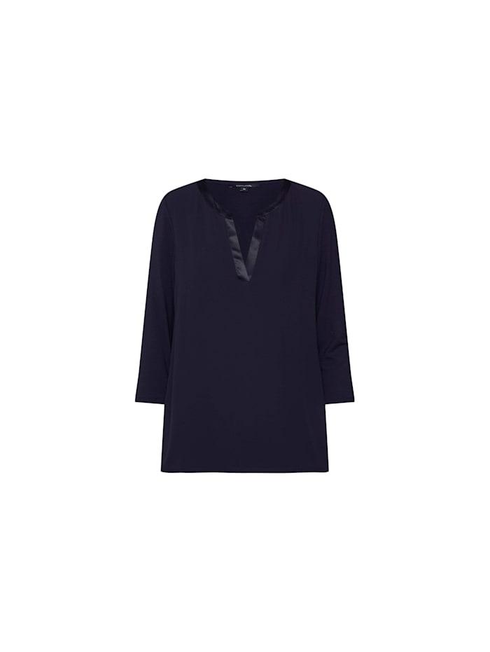 Comma V-Kragen Langarmshirt, blau