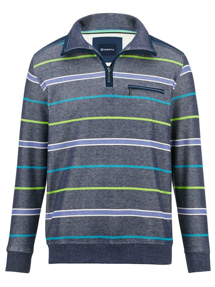 BABISTA Sweat-shirt de finition bicolore, Bleu/Vert