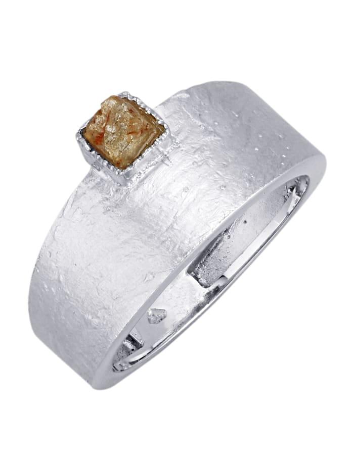 Diemer Atelier Damesring met ruwe diamant, Zilverkleur