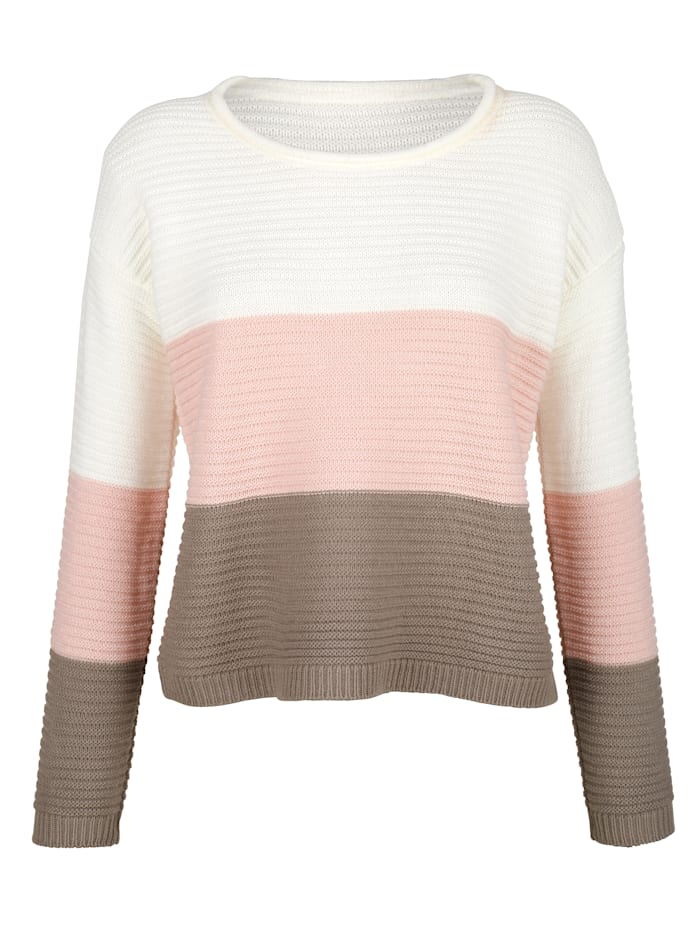 Laura Kent Pull-over à larges rayures, Taupe/Blanc cassé/Rose