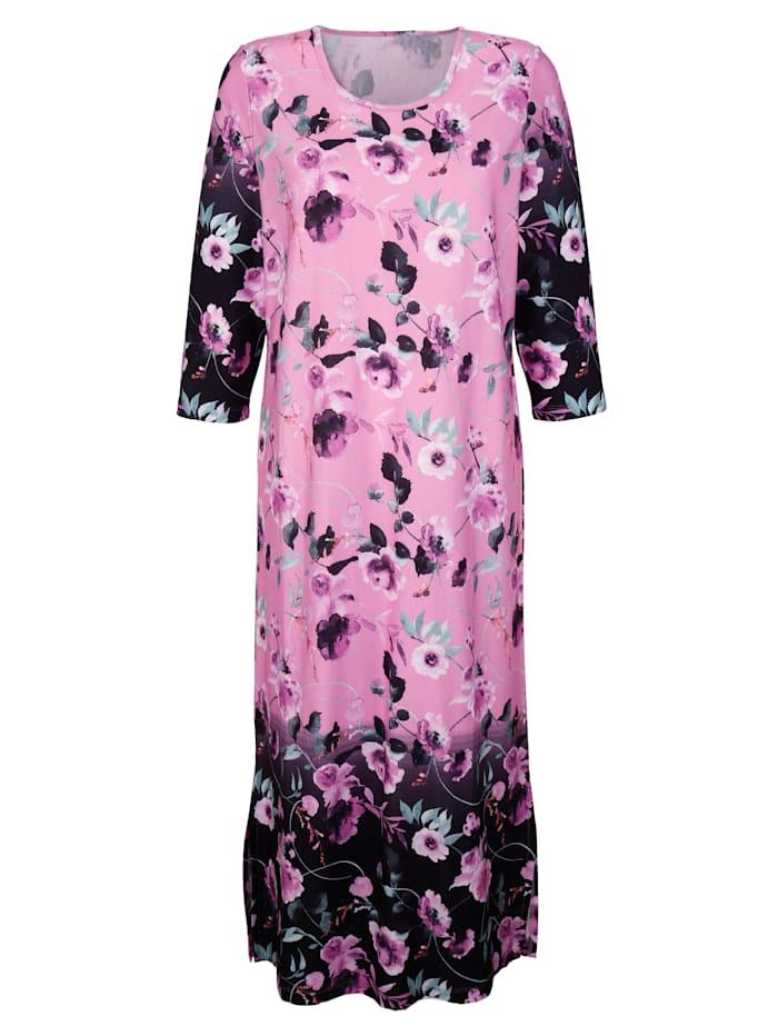 Harmony Robe d'intérieur à imprimé fleuri, Fuchsia/Noir/Gris