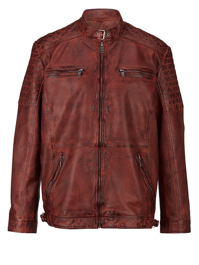 Men Plus Kožená bunda z farbenej jahňacej nappa kože, Tmavohnedá