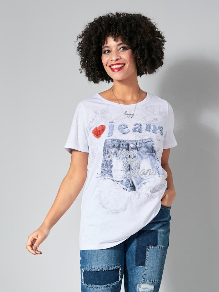 Angel of Style Shirt mit Jeansshort Printmotiv, Weiß