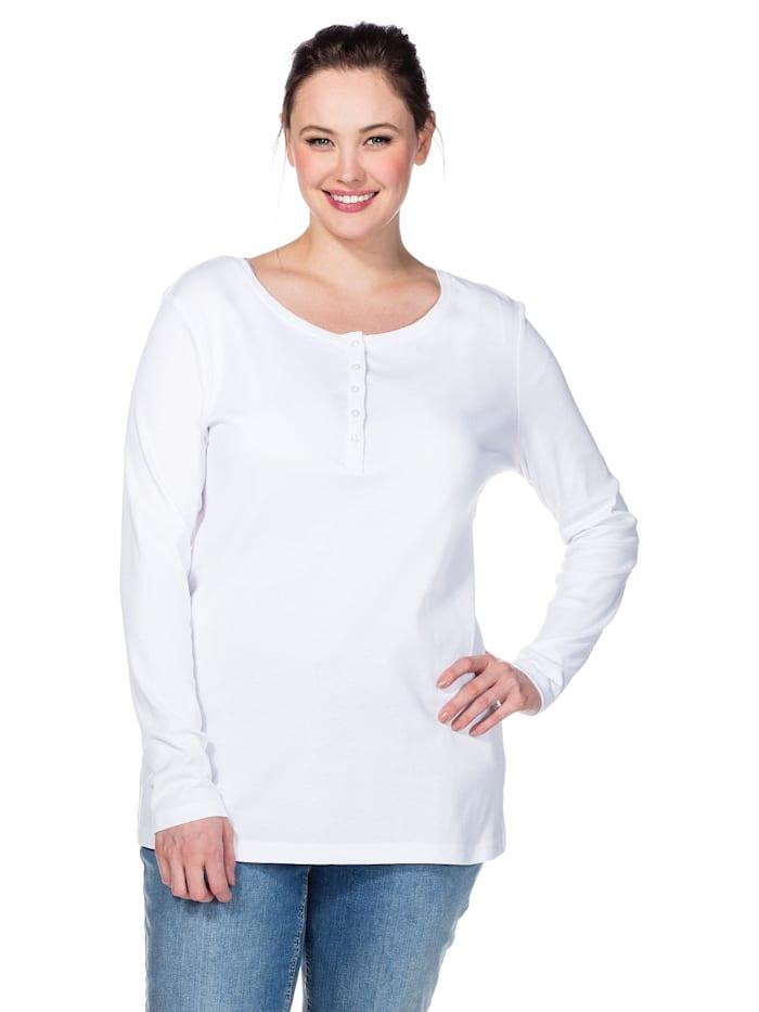 Sheego Shirt mit Serafinokragen, weiß
