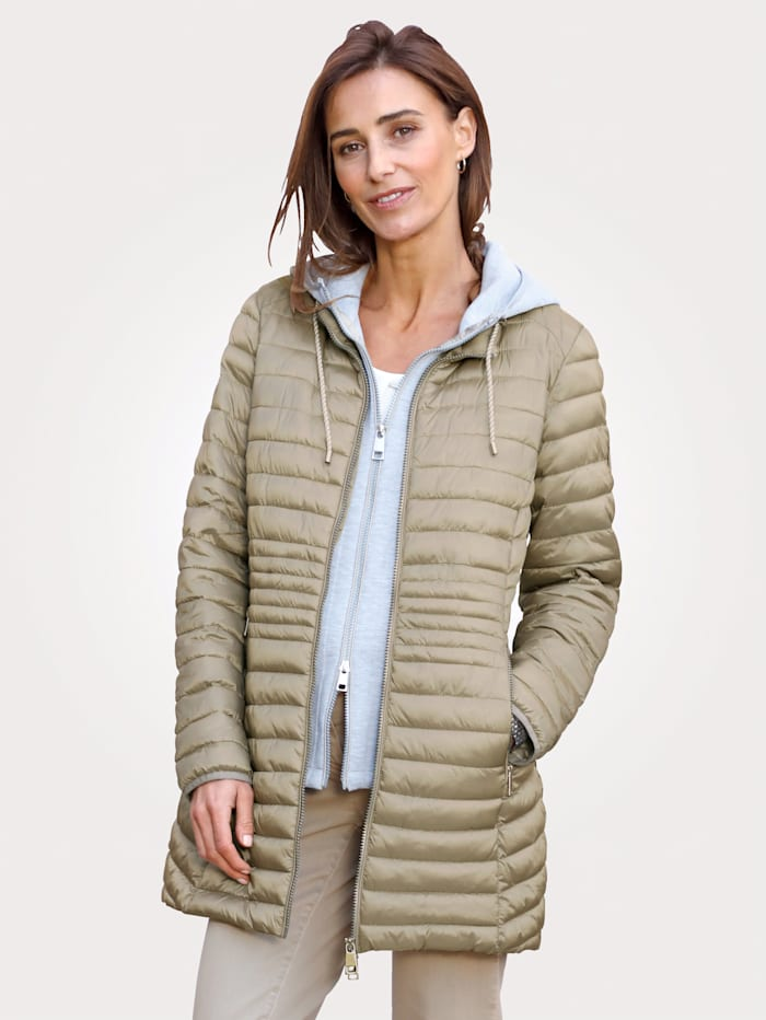 Barbara Lebek Quilted jacket with gilet insert, Sand/Grey