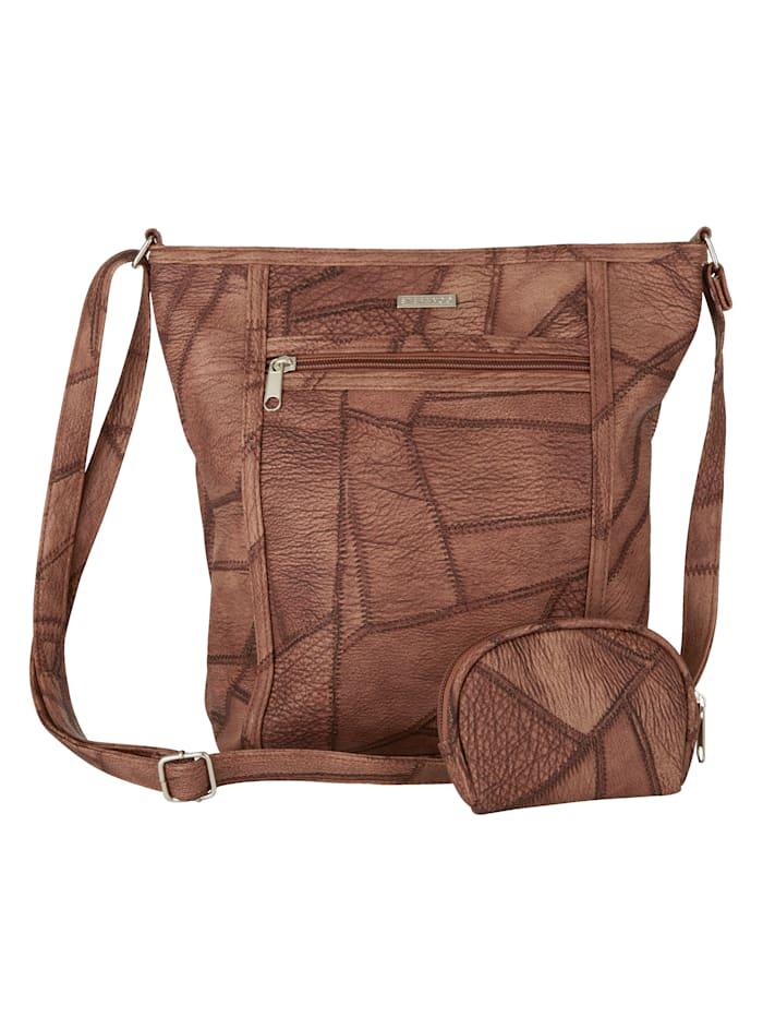 STEFANO 2-delige tassenset in patchworklook, bruin