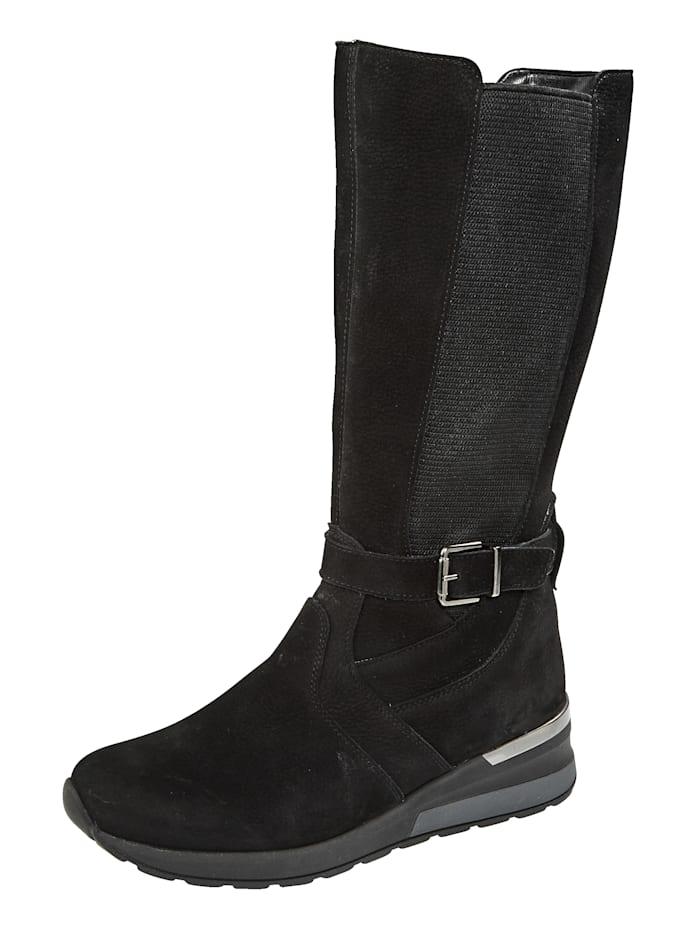 Waldläufer Stiefel mit Luftpolsterlaufsohle ausgestattet, Schwarz